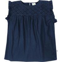 Blusa Texturizada Com Recorte- Azul Marinhopuc