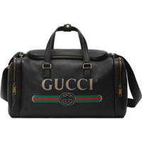 Gucci Maleta De Couro Com Logo - Preto