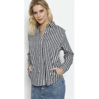Camisa Xadrez Com Bolsos- Off White & Azul Marinhodudalina