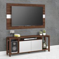 Rack Com Painel Para Tv Até 55 Polegadas Az1017 Nogal/Branco - Tecno Mobili