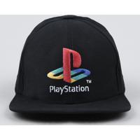 Boné Infantil Aba Reta Playstation Com Bordado Preto