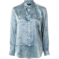 Farfetch  Polo Ralph Lauren Camisa De Seda Com Barra Curvada - Azul 32dbafe4f6d