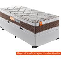 Cama Box Premium Baú Com Colchão Solteiro Albany Molas Ensacadas Marrom E Branco