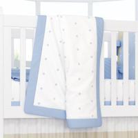Manta Bebê Azul Tricot Estampa Poá 1,45M Grão De Gente Azul
