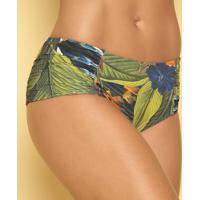 Calcinha Hot Pant Com Franzidos - Verde & Off Whiter. Do Sol