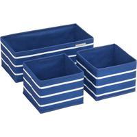 Jogo De Caixas Organizadoras- Azul Marinho & Branco-Hudson