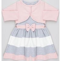 Vestido Infantil Sem Manga Cinza Mescla + Bolero Manga Longa Cinza Mescla