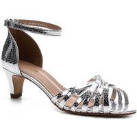 Sandália Shoestock Tiras Finas Metalizada Feminina - Feminino-Prata