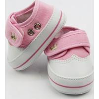 Tênis Bebê Feminino Rosa Bordado Coroa Com Velcro -G - Feminino-Rosa