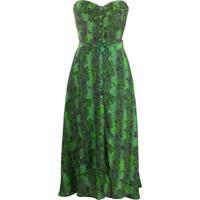 Rotate Vestido Tomara Que Caia Com Estampa Pele De Cobra - Verde