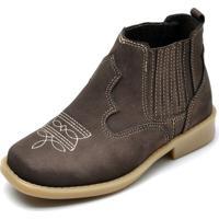 Bota Cotinha Ousy Shoes Couro Kids Marrom