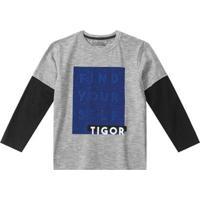 Camiseta Tigor T. Tigre Infantil Masculina - Masculino-Cinza