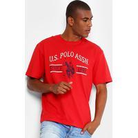 Camiseta U.S. Polo Assn Estampada Masculina - Masculino-Vermelho