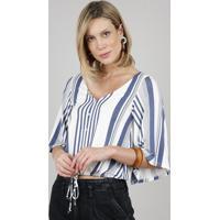 Blusa Feminina Listrada Com Botões E Cordão Manga Curta Decote V Off White