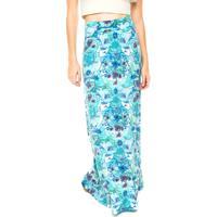 Saia Longa Malwee Floral Verde/Roxa/Azul