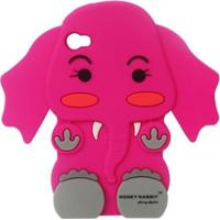 Capa Case Para Iphone 4/4S Silicone Elefante Pink