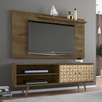 Rack Com Painel Para Tv Até 50 Polegadas Onix Madeira Rústica/Madeira 3D - Bechara Móveis