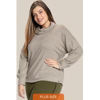 Blusa Plus Size Com Gola Boba Cinza