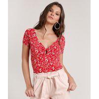 Blusa Feminina Estampada Floral Com Vazado Manga Curta Decote V Vermelho