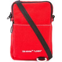 Off-White Bolsa Tiracolo Com Logo - Vermelho