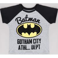 Camiseta Infantil Batman Raglan Manga Curta Cinza Mescla