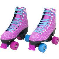 Patins Infantil 4 Rodas Feminino Quad Roller E Skate Rosa 33-34