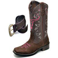 Bota Texana Click Calçados Bico Quadrado Cara De Boi Rosa Em Couro Com Cinto