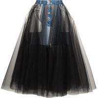 Unravel Project Saia Jeans Reverb Com Tule - Azul