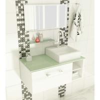 Gabinete Com Cuba E Espelho Felix 1 Pt Branco E Verde 80 Cm
