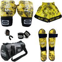 Kit Boxe Fheras Top- Luva Bandagem Bucal Caneleira Bolsa E Shorts - Grafite 14 Oz