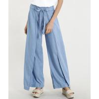 Calça Jeans Feminina Pantalona Envelope Com Amarração Azul Claro