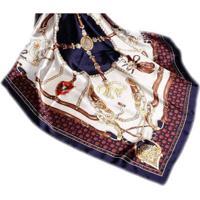 Lenço Seda Estampado Grande Echarpe Xale Marinheiro Feminino - Feminino-Azul