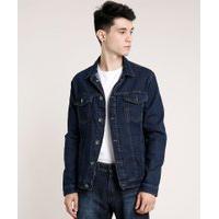 Jaqueta Jeans Masculina Com Bolsos Azul Escuro