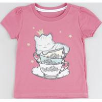 Blusa Infantil Gatinho Manga Curta Rosa