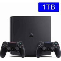 Console Playstation 4 Sony Slim 1Tb C/ 2 Controles - Unissex