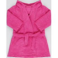 Roupão Infantil Atoalhado Com Capuz Bordado Pink