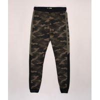 Calça De Moletom Juvenil Jogger Estampada Camuflada Verde Militar