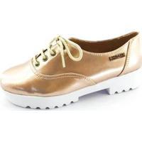 Oxford Quality Shoes Tratorado Verniz Feminino - Feminino-Dourado