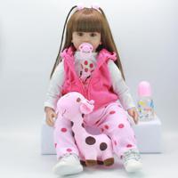 Boneca Bebê Reborn Realista Princesinha Cabelo Longo - 60 Cm