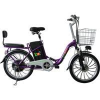 Bicicleta Elétrica Biobike, Quadro Em Aço, Modelo Urbana - Roxa
