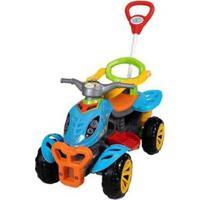 Carrinho De Passeio Infantil 3110 Com Empurrador - Masculino-Azul+Laranja