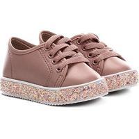 Sapato Infantil Molekinha Napa Turim Gliter - Feminino-Rosa