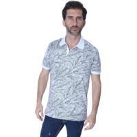 Camisa Polo Yacht Sport Full Print Flolhagem Branco