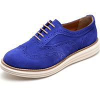 Sapato Oxford Casual Conforto Camurça Azul Bic
