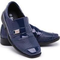 Sapato Social Infantil Menino Bico Quadrado Conforto Festa - Masculino-Azul