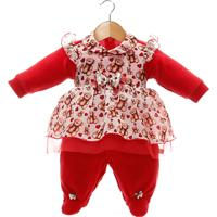 Macacão Longo Beth Bebê Ursinhas Plush Vermelho