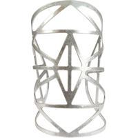 Bracelete Piuka Semi Aberto Geométrico Vazado Grande - Feminino-Prata