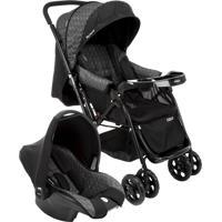 Carrinho E Bebê Conforto Cosco Reverse Ts Travel System Preto Rajado