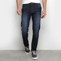 Calça Jeans Skinny Calvin Klein Estonada Masculina - Masculino-Marinho