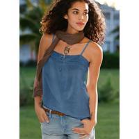 Blusa De Alça Com Renda Azul Jeans